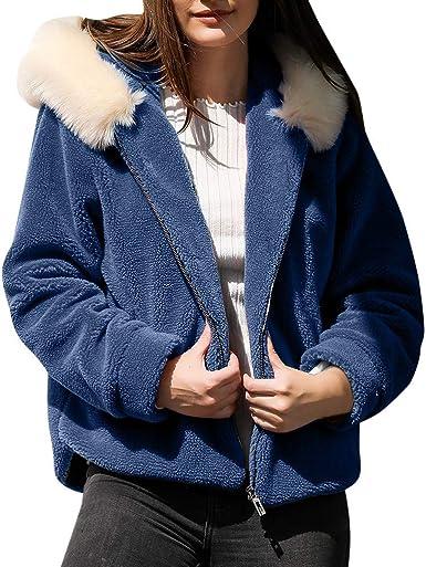 COZOCO Chaqueta Casual De Color Sólido para Mujer Camisa Gruesa De Bolsillo Cárdigan Suéter Suelto Chaqueta con Capucha Y Cremallera: Amazon.es: Ropa y accesorios