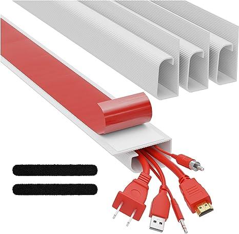 J Channel Kabelkanal Set Kabel Organizer Für Schreibtisch 4x 41cm Weiß Untertisch Kabelmanagement Für Büro Und Zuhause Baumarkt
