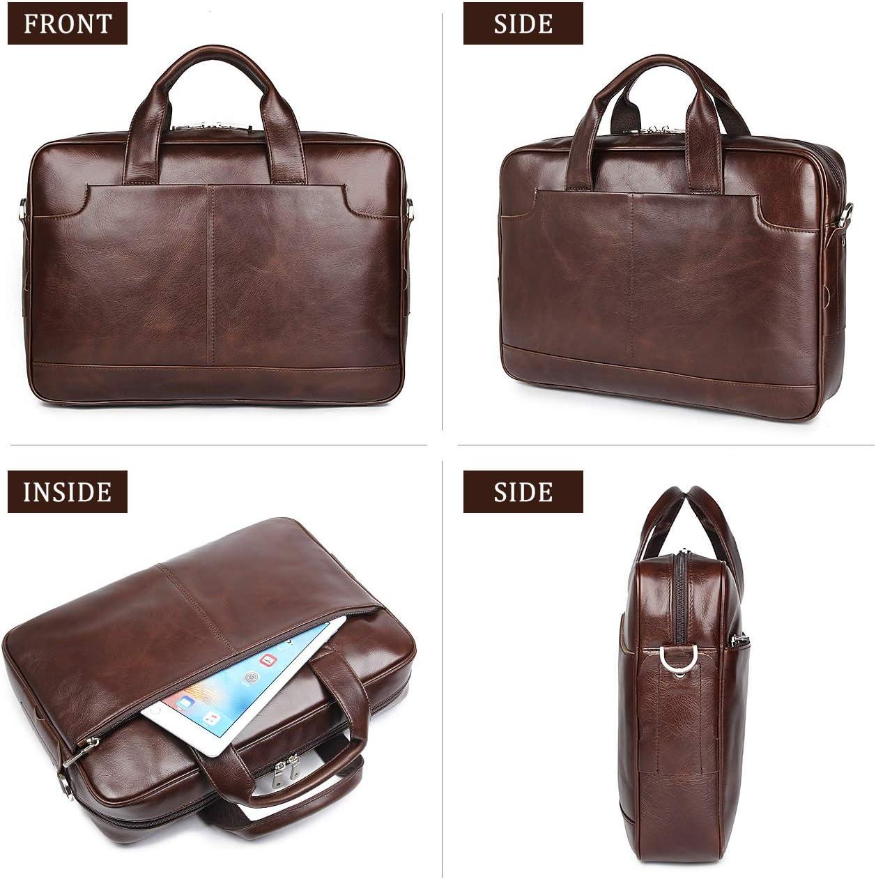 Augus Leather 16 Laptop Briefcase for Men Shoulder BagTravel Messenger Duffle Bags handbag With YKK Metal Zipper