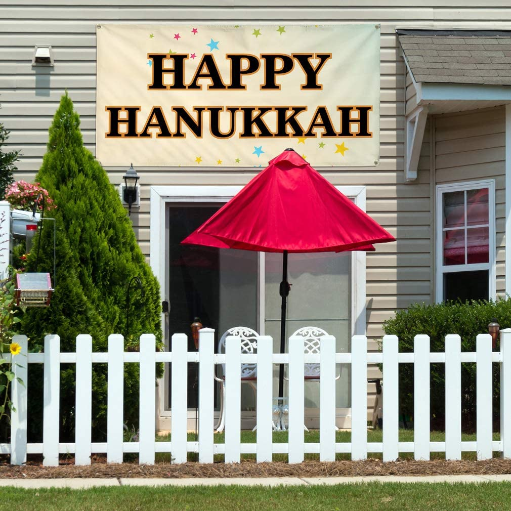 4 Grommets Set of 2 Vinyl Banner Sign Happy Hanukkah 28inx70in Multiple Sizes Available #2 Lifestyle Stars Outdoor Marketing Advertising Black