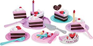 Play Circle by Battat – Princess Birthday Party Set – Pretend Play Princess Tiara, Candles, Plates, Forks, and Chocolate Cake Topped with Strawberries – Play Food Toys for Kids 3 and Up (24 Pieces)