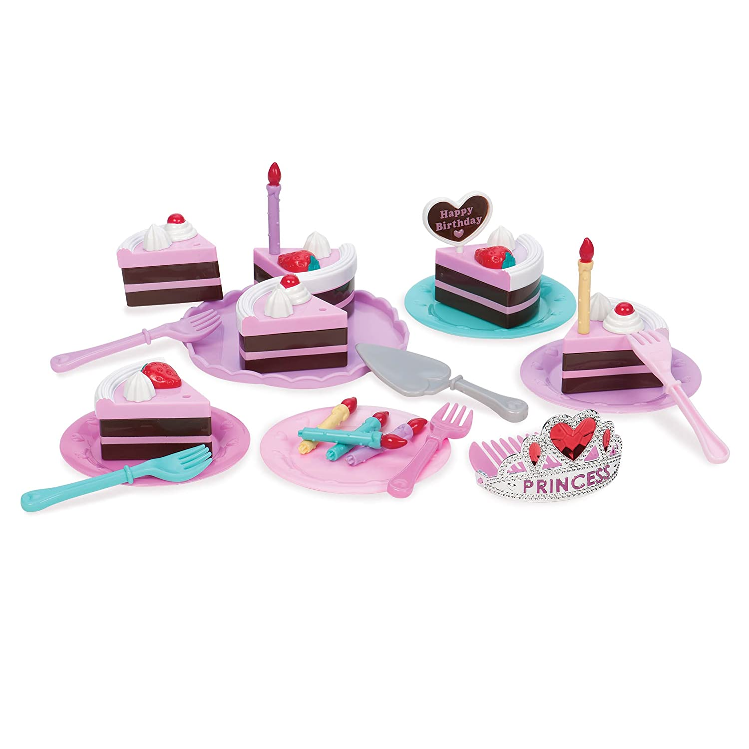 Play Circle by Battat Princess Birthday Party – Pretend Play Birthday Cake with Candles, Dishes, & Princess Tiara – Play Food Sets for Toddlers Age 3 Years & Up (Pack of 24)