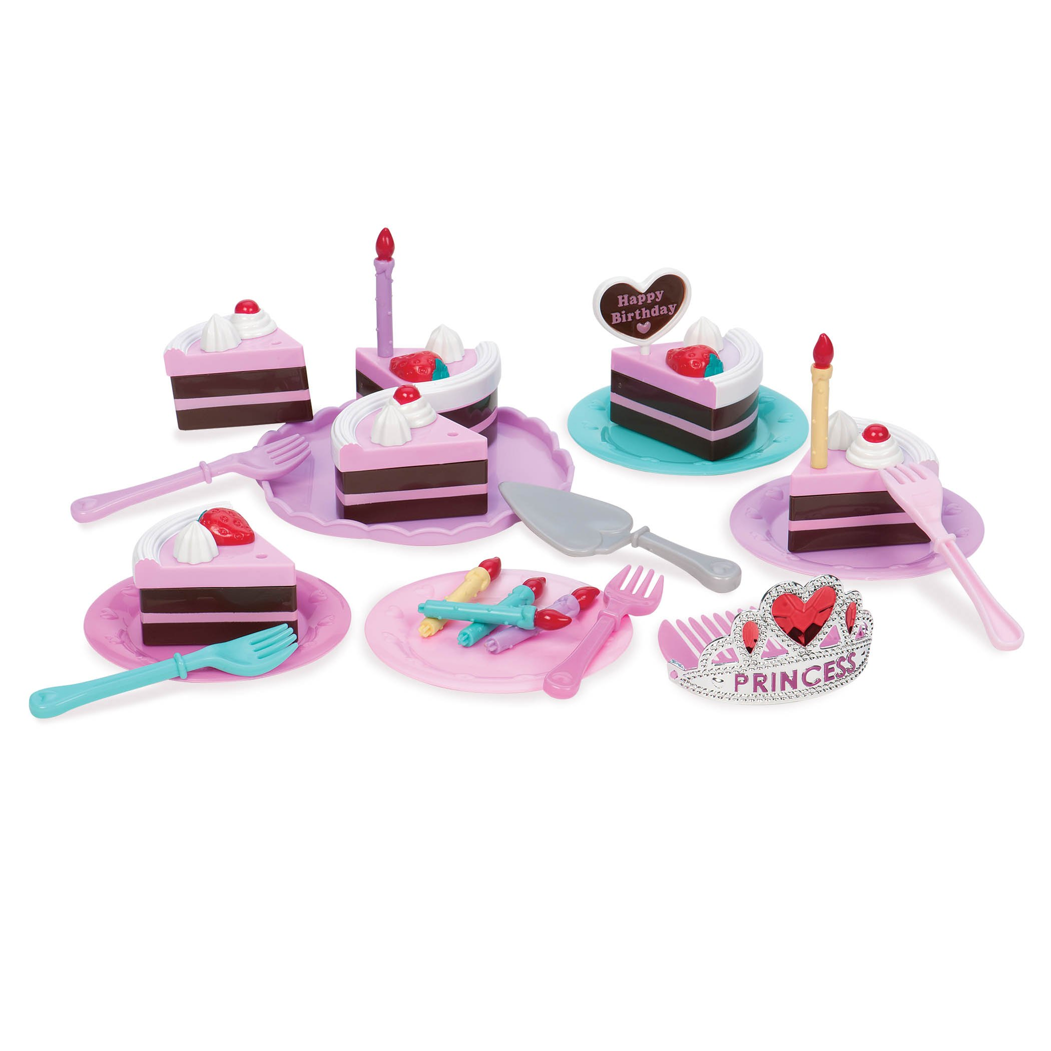 Play Circle by Battat Princess Birthday Party - Pretend Play Birthday Cake with Candles, Dishes, & Princess Tiara - Play Food Sets for Toddlers Age 3 Years & Up (Pack of 24) by Play Circle by Battat