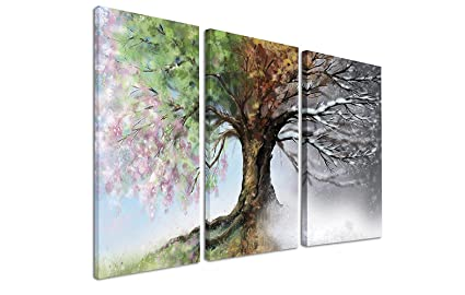 Amazoncom Handpainted Tree Wall Art Four Seasons Abstract Modern