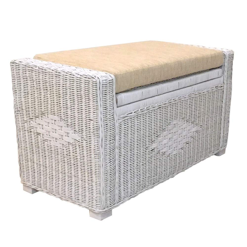 Kotlette Natural Rattan Wicker Storage Chest and Trunk Ottoman Bench with Beige Cushion Handmade Patio | Model Adam | Size 32 Inch | 5 Colors (White Solid) by Kotlette