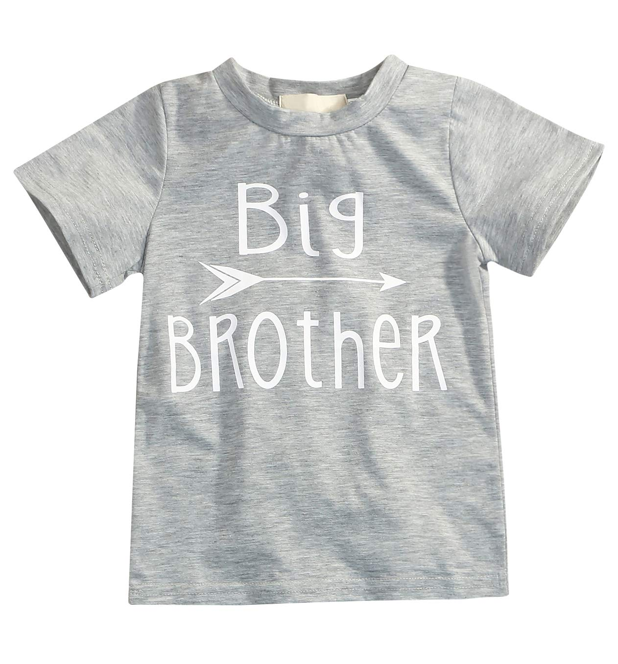 Younger star 1PC Children Baby Boy Gray Letter Print Short Sleeve T-Shirt Clothes Outfit (Gray-Brother, 3 T)