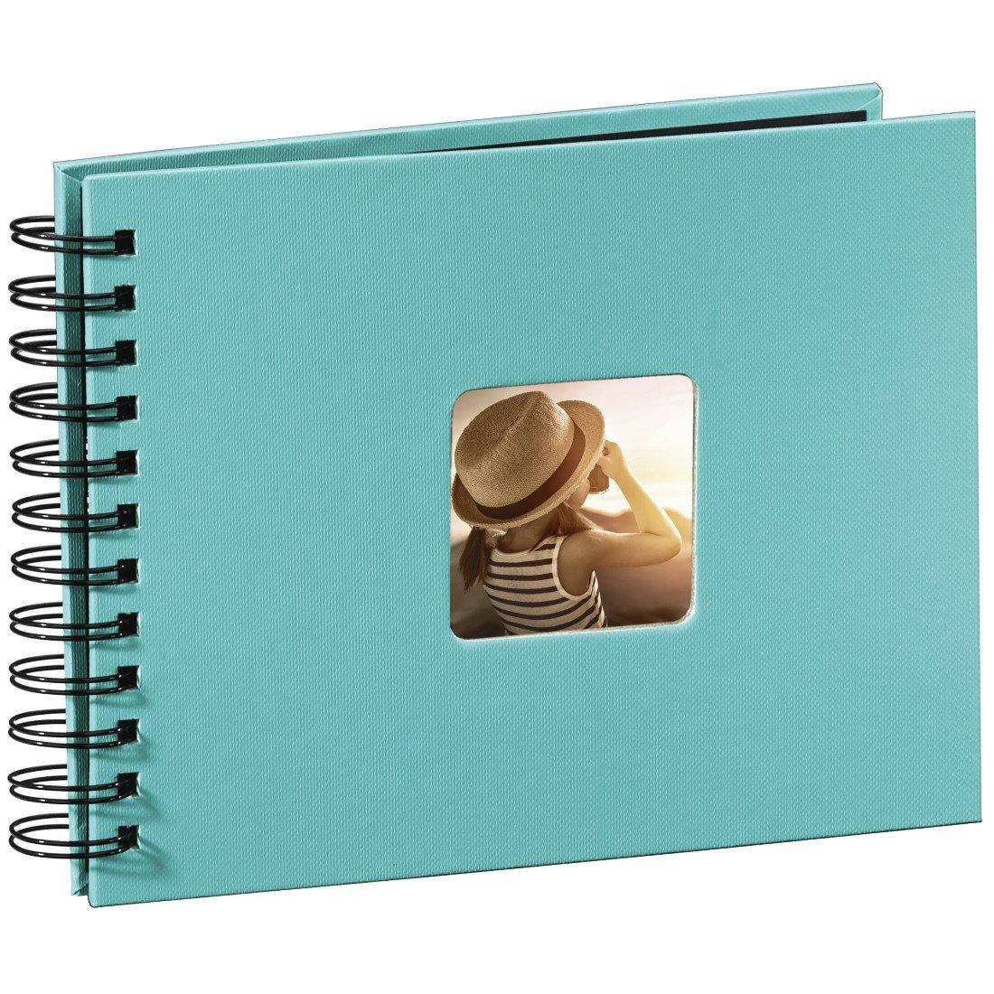 Hama Fotoalbum Spiralalbum (50 schwarze Seiten, 25 Blatt, Größe 24 x 17 cm, mit Ausschnitt für Bildeinschub) Fotobuch apfelgrün Größe 24 x 17 cm 00094880