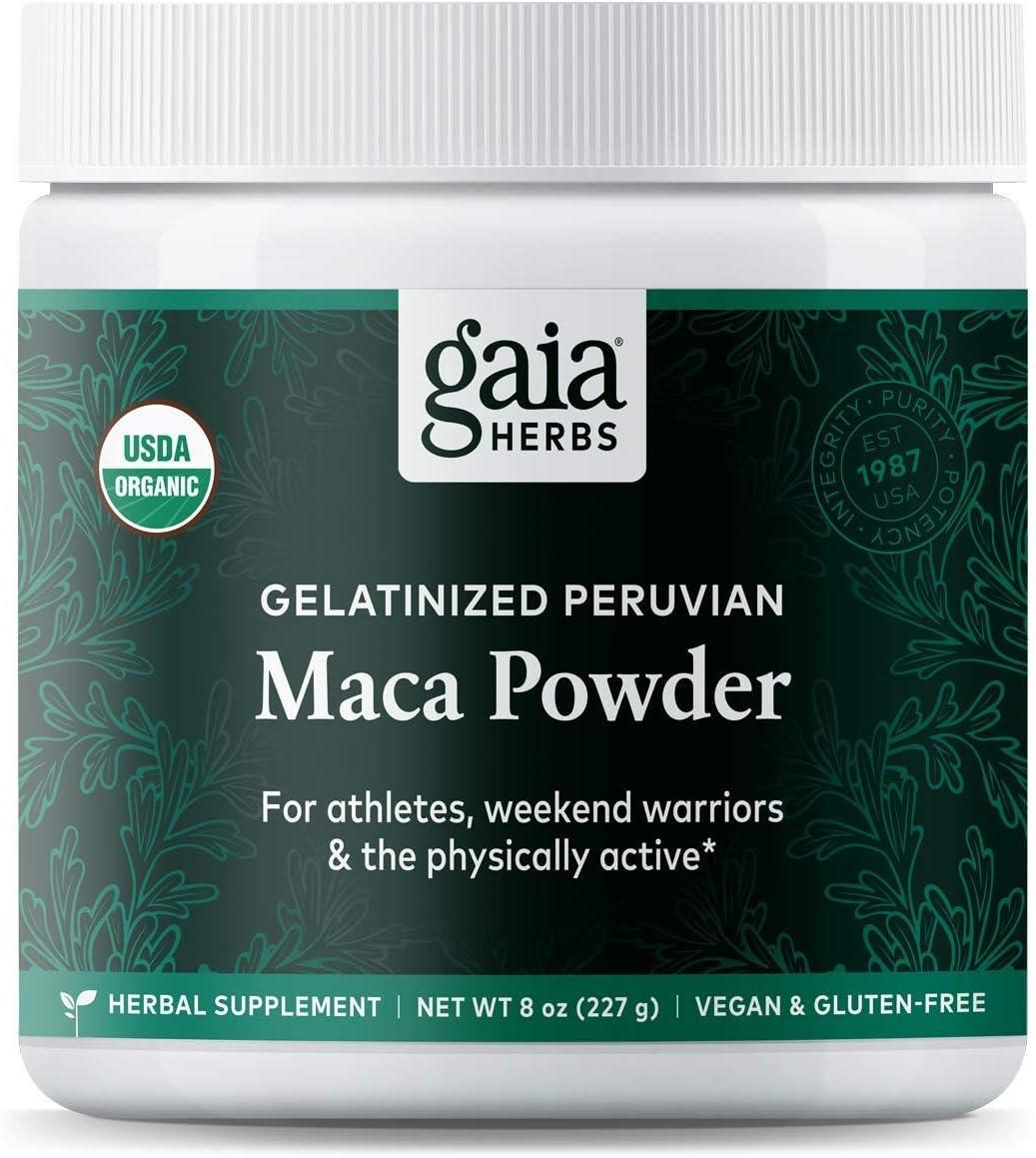 Gaia Herbs Organic Maca Powder, 8 Ounce - Peruvian-Grown Superfood Supports Energy, Stamina, Healthy Libido, Hormone Balance - Gelatinized, Vegan