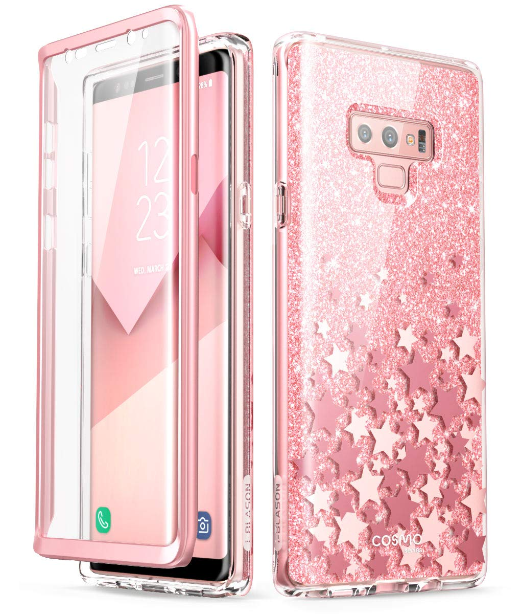 Samsung Galaxy Note 9 Case, [Scratch Resistant] i-Blason [Cosmo] Full-Body Bling Glitter Sparkle Clear Bumper Case with Built-in Screen Protector for Galaxy Note 9 (2018 Release) (Blue)