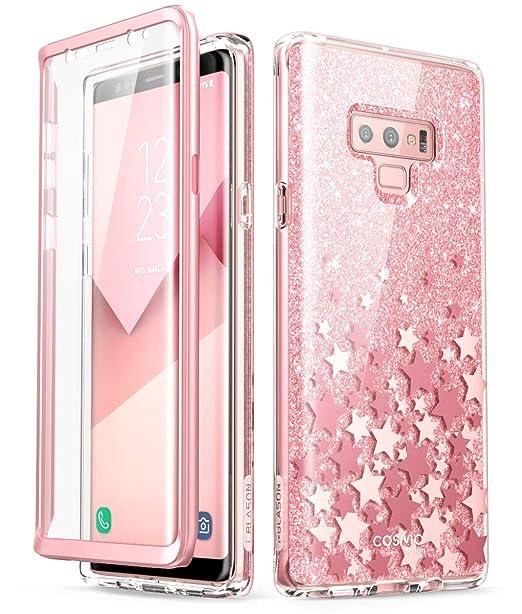 new concept 4e578 f211c i-Blason Cosmo Full-Body Glitter Bumper Protective Case for Galaxy Note 9  2018 Release, Pink