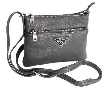 0ee593309ff36 Jennifer Jones Taschen Damen Damentasche Handtasche Schultertasche  Umhängetasche Tasche klein Crossbody Bag grau   anthrazit (
