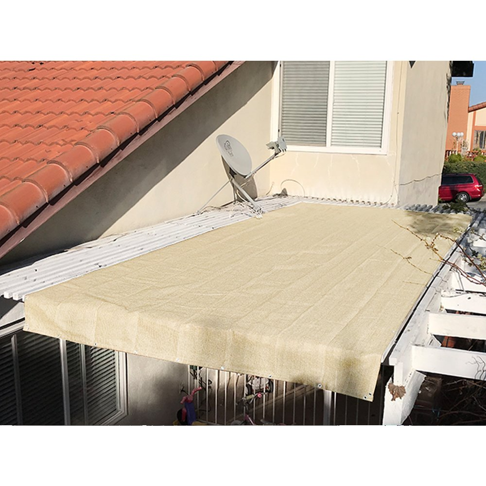 4 x 10, Beige Alion Home Pergola Shade Cover Sunblock Patio Canopy HDPE Permeable Cloth with Grommets