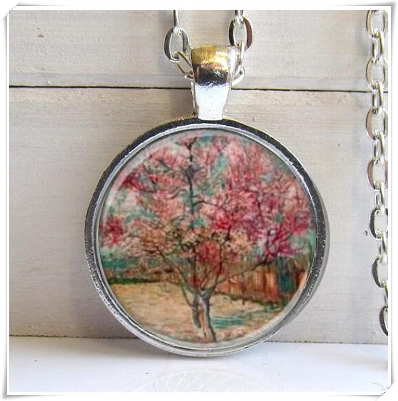 Árbol Arte Collar colgante, diseño de cerezo, cerezo árbol colgante