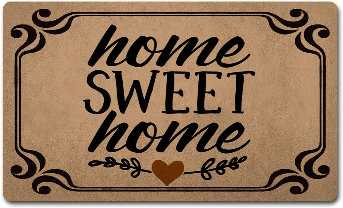 """CLZ Mat Welcome Mats Colorful Funny Doormats for Entrance Way Anti-Slip Rubber mats for Front Door Kitchen Rugs and Mats 18""""(L) x 30""""(W) (Home Sweet Home)"""