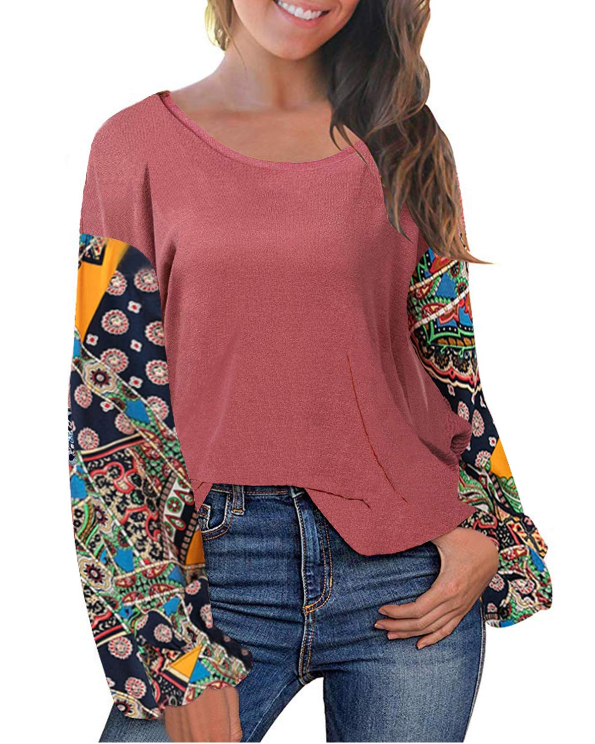 LeMarnia Pullover Sweatshirts for Women Long Sleeve, Ladies Floral Print Crewneck Patchwork Tops A-Line Slim Fit Casual Knit Work Shirts Pink M