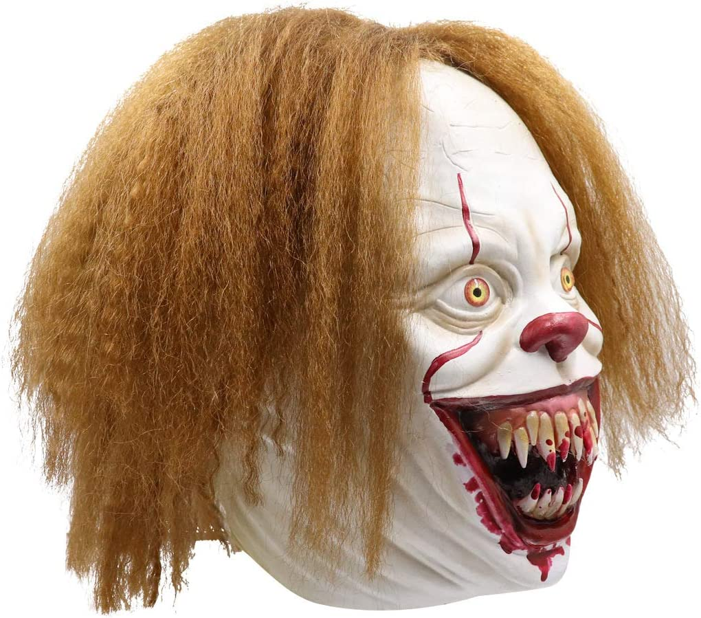 Amazon Com Cosplay Halloween Mask Latex Mask Clown Returning Soul Horror Ghost Scary Gifts Prank Mask Face Scary Party Bar Props Masquerade