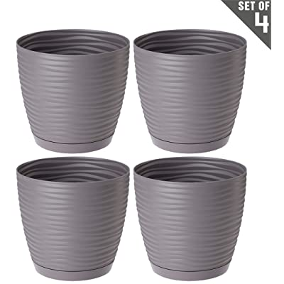 "UniFramPro 4-Pack Indoor/Outdoor Planter – Patio, Deck, Garden, Home – ""Michigan Dunes"" Modern Round Flower Pot with Attached Saucer (M, Slate) : Garden & Outdoor"