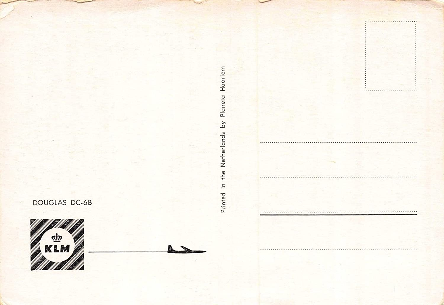 Amazoncom Postcard KLM Douglas DCB Royal Dutch Airlines Airplane - Invoice klm