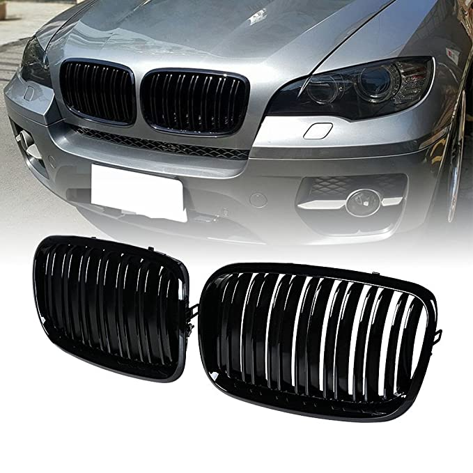 For BMW X5 Kidney Grill Black Front Bumper Side Grille Replacement Fit X5 X6 E70 E71 07 08 09 10 11 12 13