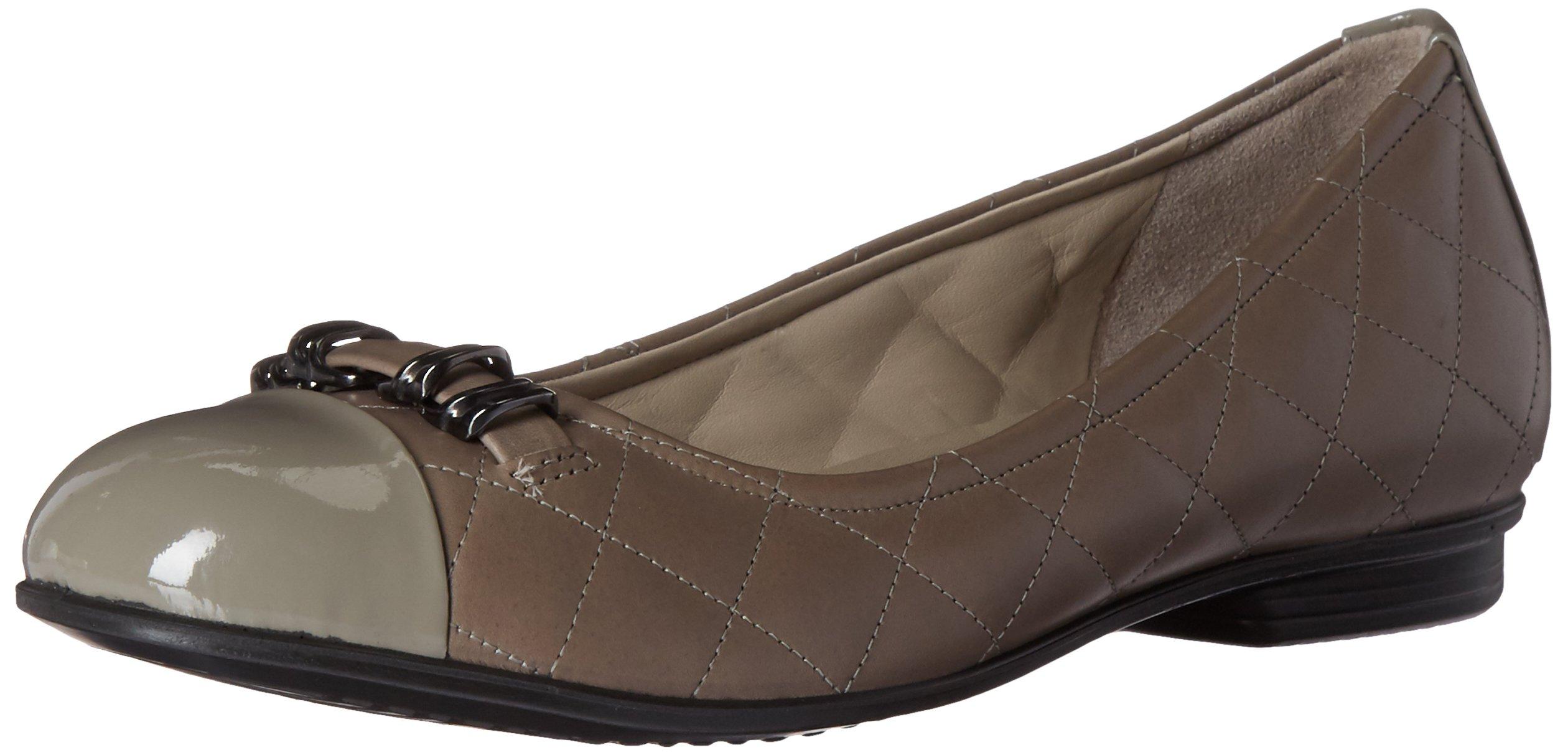 ECCO Footwear Womens Touch Quilted Ballerina Ballet Flat, Warm Grey/Stone, 41 EU/10-10.5 M US
