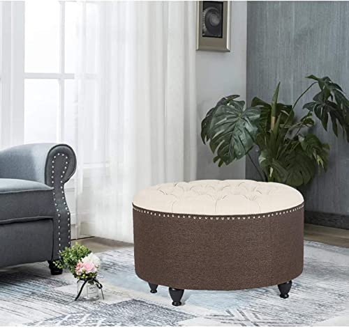Homebeez Tufted Round Ottoman 28 Linen Upholstered Coffee Table Footstool Beige/Brown