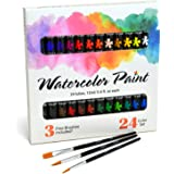 Watercolor Paint Set by JoiArt Beginner Art Watercolors Painting Set, Bright 24 Color Premium Painting Set - Includes 3 Brushes - Beginners, Students and Artists