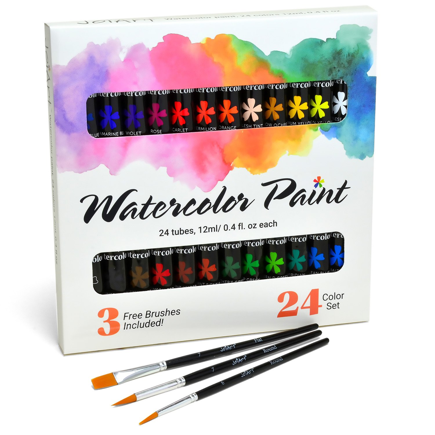 Watercolor Paint Set by JoiArt Bright 24 Color Premium Painting Kit for Beginners, Students and Artists - Includes 3 Brushes