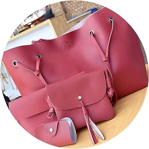 4Pcs Girl Backpack Leather Bag Set Handbag Messenger Shoulder Bags Crossbody Bag