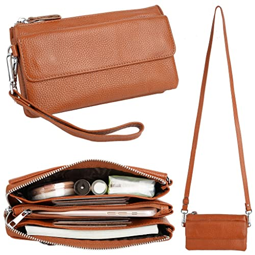 YALUXE Women's Leather Smartphone Wristlet Crossbody Clutch with RFID Blocking Card Slots