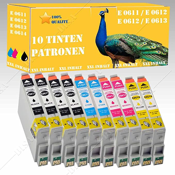 10 x Cartuchos de Tinta XXL con chip compatible con Epson D88 ...