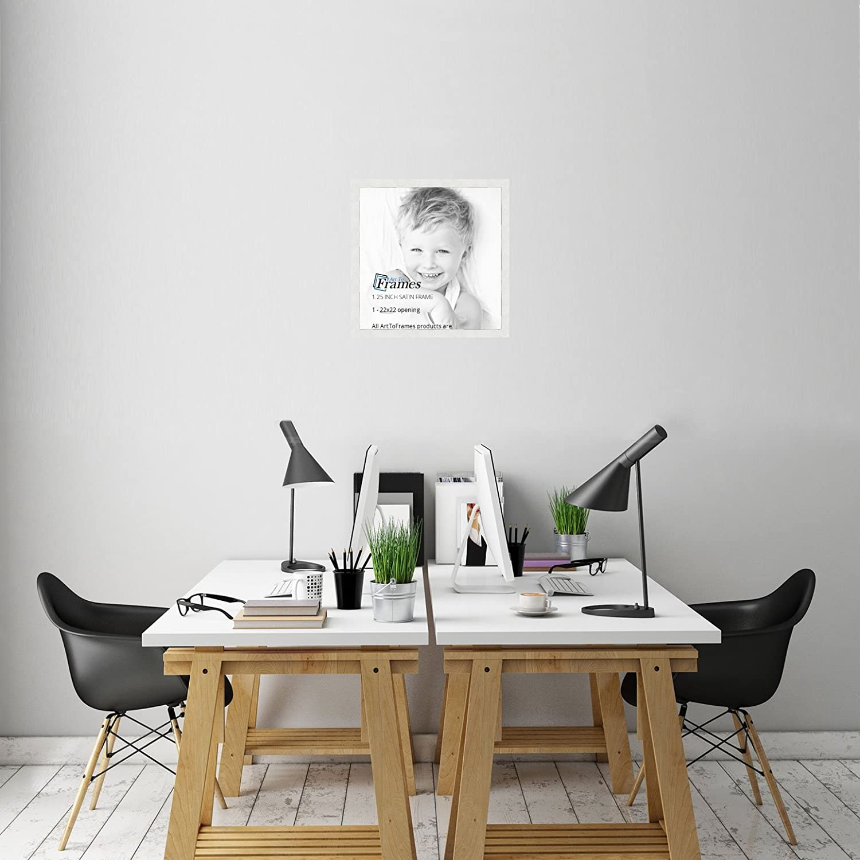 amazoncom arttoframes 22x22 inch satin white frame picture frame 2womfrbw26074 22x22 single frames