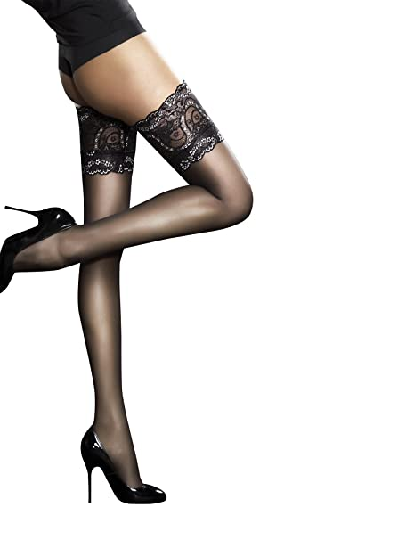 4fb2151eed Fiore, calze autoreggenti di lusso, super sottili, 20 denari Black Small