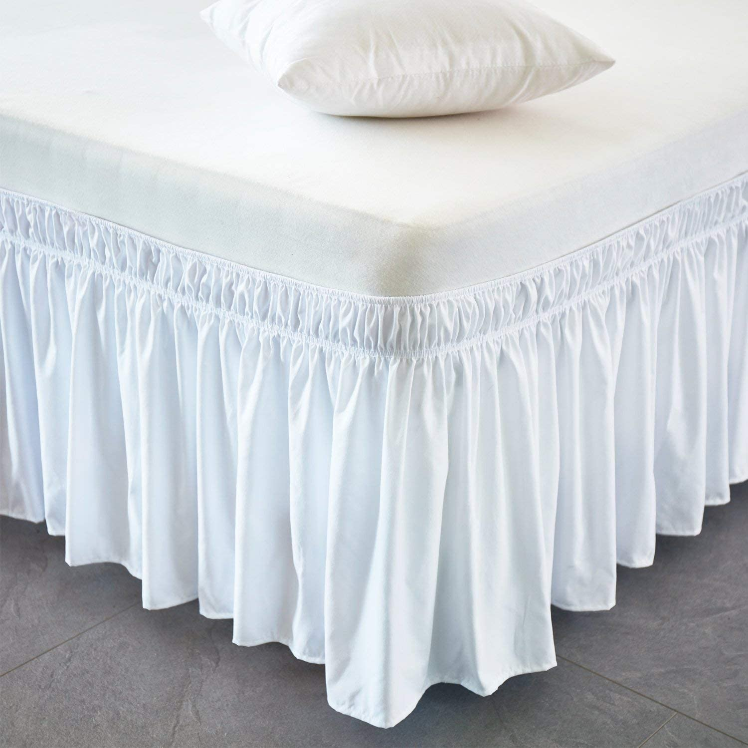 White Wrap Around Bed Skirt Three Fabric Size Silky Soft /& Wrinkle Free Classic Stylish Look in Your Bedroom Full-xl-12 inch Drop