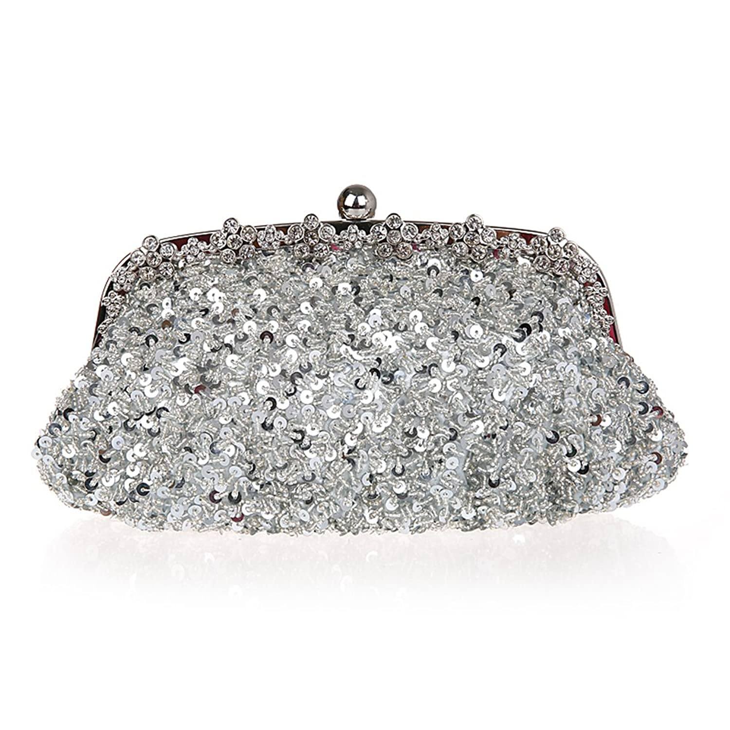 TopTie Bling Beads and Sequins Purse Rhinestones Embellished Frame Clutch