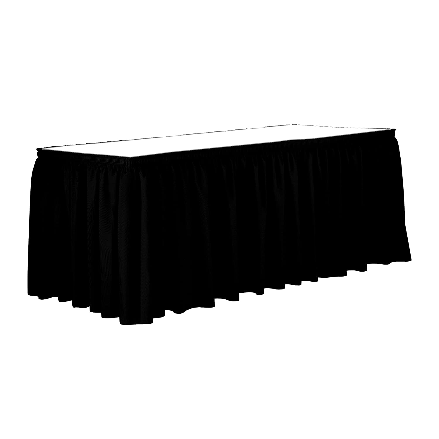 "Ultimate Textile 14 ft. Shirred Pleat Polyester Table Skirt - 36"" Counter Serving Height, Black"