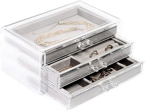 Transparent Jewelry Box With 3 Drawers Velvet Jewelry Organizer Amazon Ca Home Kitchen