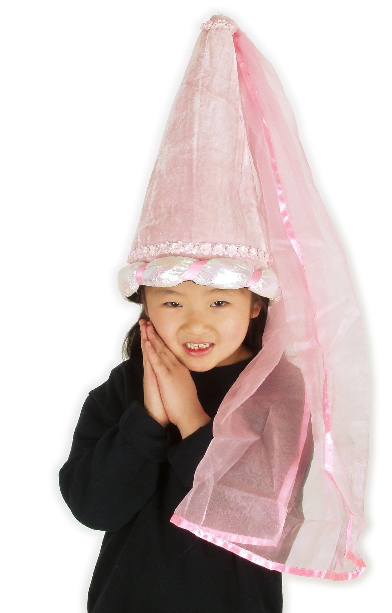 elope Pink Princess Plush Costume Cone Hat for Girls