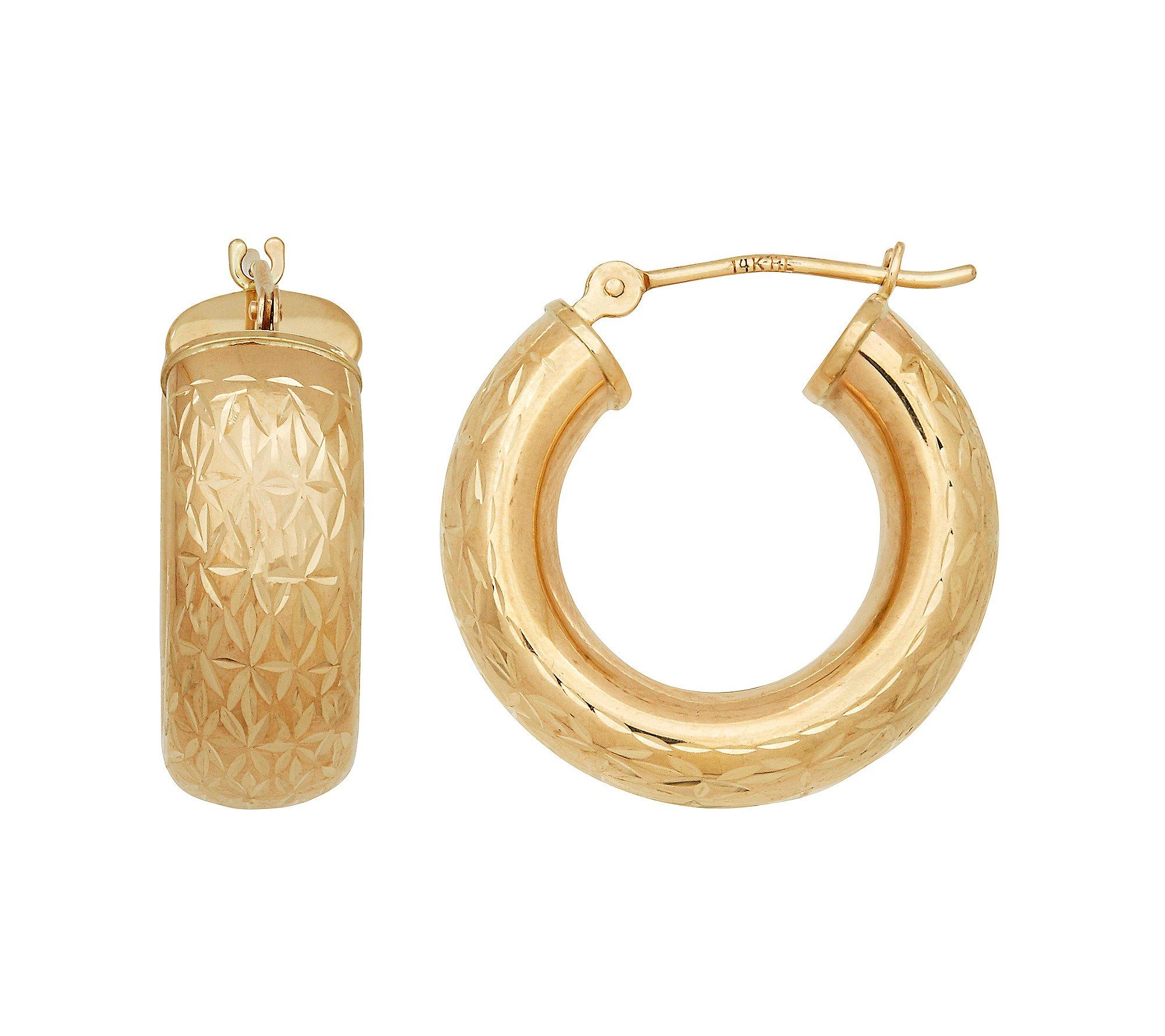14K Yellow Gold Polished Diamond Cut Round Geometric Pattern Hoop Earrings