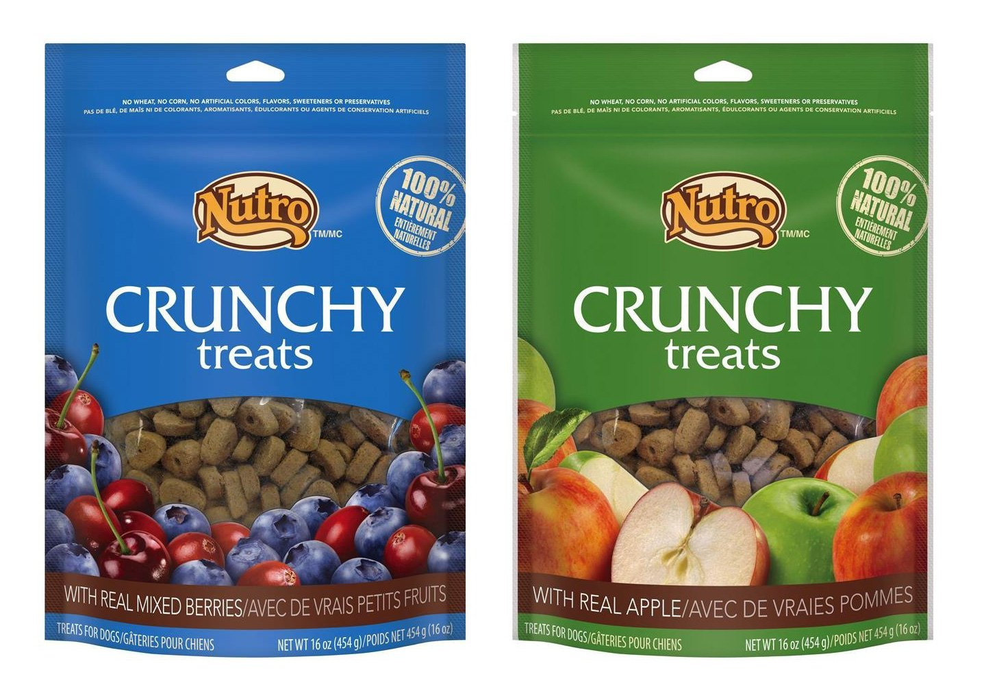 Nutro All Natural Crunchy Training Treats for Dogs 2 Flavor Variety Bundle  (1) Mixed Berries, and (1) Apple, 16 Oz. Ea. (2 Bags Total)