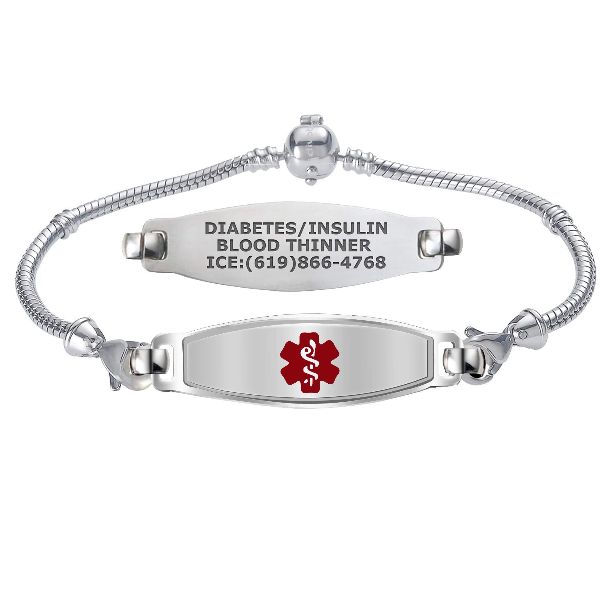 Divoti Custom Engraved Medical Alert Bracelets for Women, Stainless Steel Medical Bracelet, Medical ID Bracelet w/Free Engraving - Elegant Contempo Tag w/DYO European Bead Charm-Red-8.0'' by Divoti