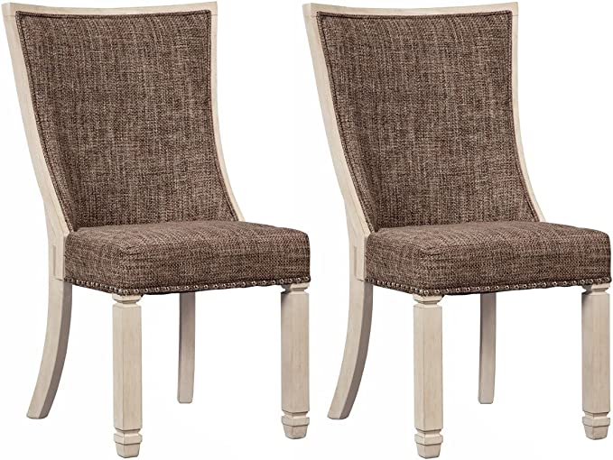 Ashley Furniture Signature Design Bolanburg Dining Side Chair Set Of 2 Upholstered Two Tone Textured Antique White Finish Furniture Decor