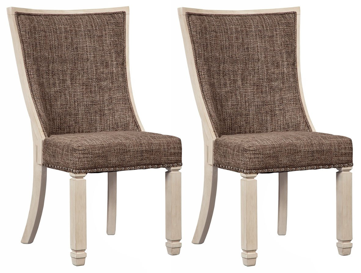Ashley Furniture Signature Design – Bolanburg Dining Side Chair – Set of 2 – Upholstered – Two-tone – Textured Antique White Finish