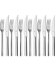 WMF Nuova Steakbesteck, 12-teilig, für 6 Personen, Steakgabel, Steakmesser, Cromargan Edelstahl poliert, spülmaschinengeeignet