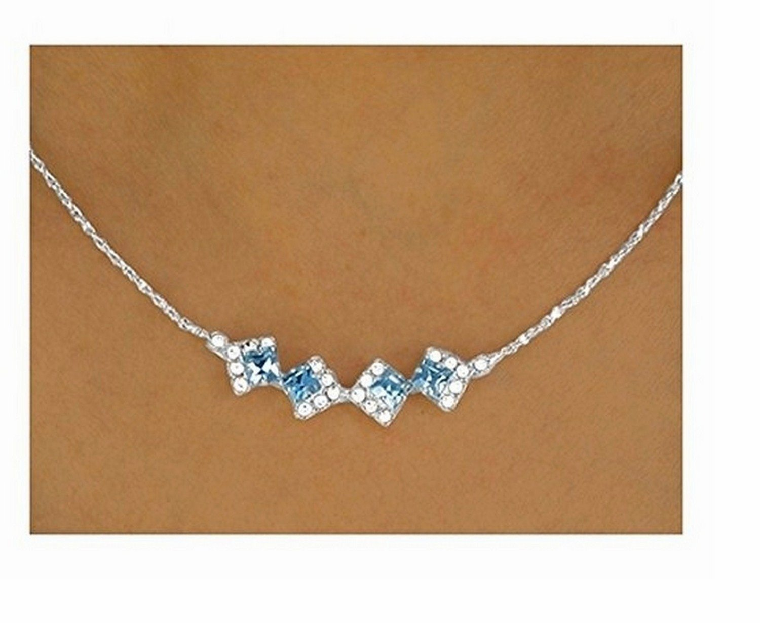 Glittering & Genuine Sapphire Blue Austrian Crystal Necklace & Earring Set by Lonestar Jewelry