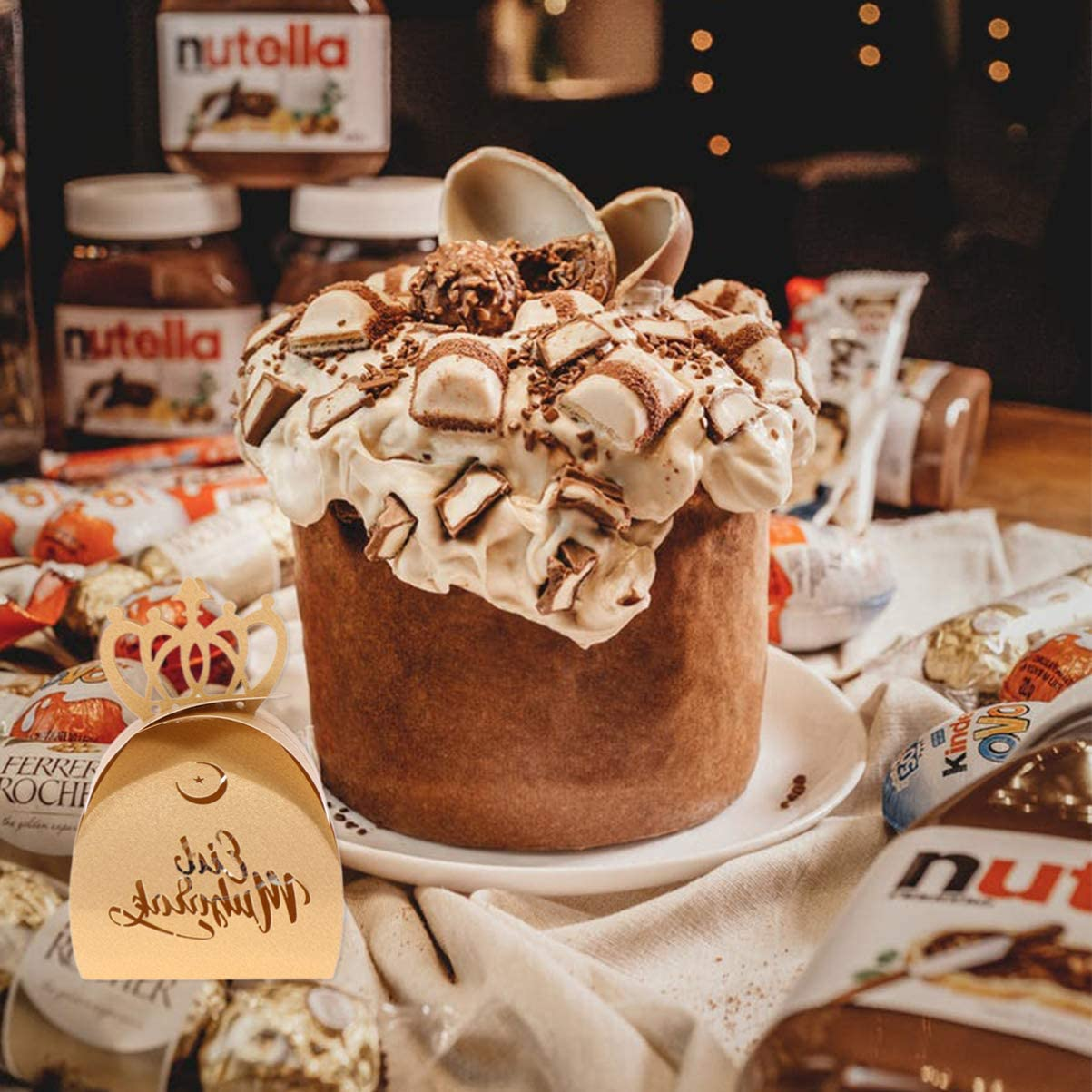 Amosfun Pralinenschachtel Eid Mubarak Geschenkbox mit Krone S/ü/ßigkeiten Schokolade Hohl Aufbewahrungsbox f/ür Muslimischen Ramadan Hochzeit Geburtstag Gastgeschenke 10 St/ück Golden