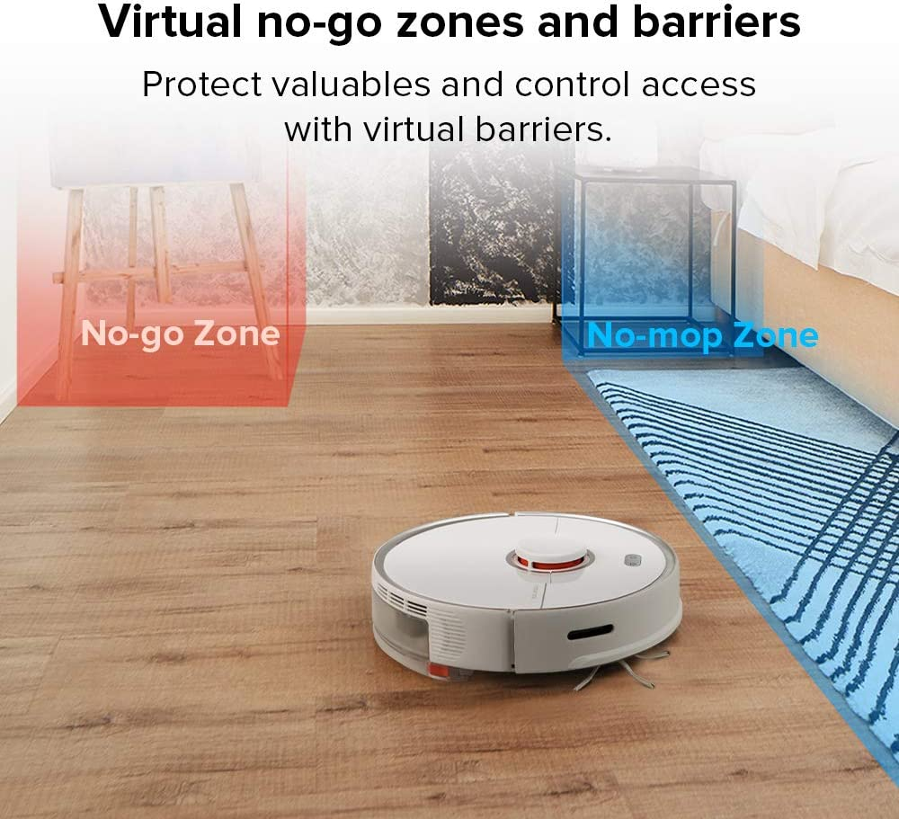 Robotic Vacuum Cleaner with E-Tank Lidar Navigation Selective Room Cleaning Super Powerful Suction and No-mop Zones Roborock S5 MAX Robot Vacuum and Mop