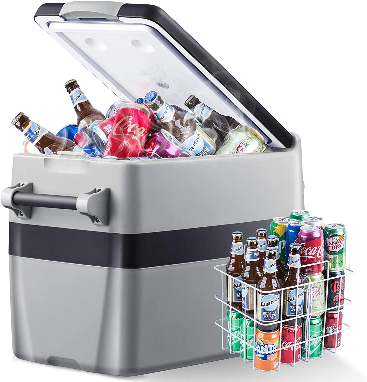 Portable Refrigerator for Car, 42 Quarts Car Cooler (-4℉~50℉) Electric Compressor Portable Freezer, Voltage protection Car Cooler for Truck Driving, Boating, Camping, Road Travel -12/24V DC