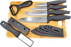 Ceramic Knife Set and Peeler - Cutting Board File Sharpener