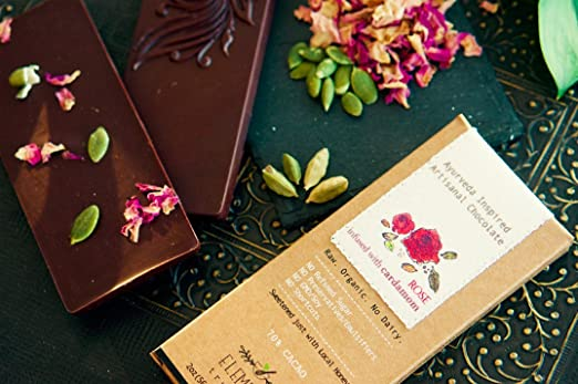Elements Truffles Rose Bar with Cardamom Infusion - Dairy Free Chocolate Bar