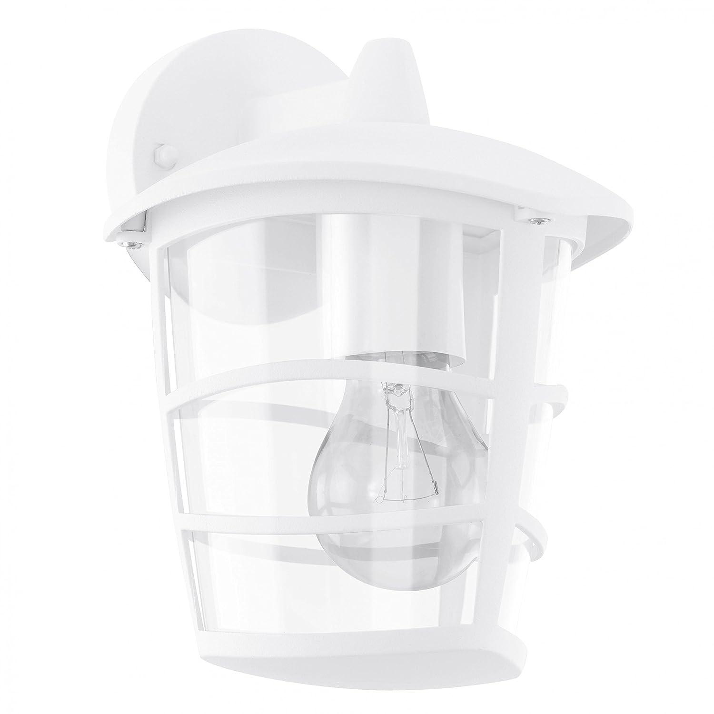Eglo ALORIA Outdoor wall lighting E27 Color blanco - iluminación al aire libre (Outdoor wall lighting, Color blanco, Aluminio, De plástico, IP44, Entrada, Jardín, Patio, 1 bulb(s)) [Clase de eficiencia energética D] 93095